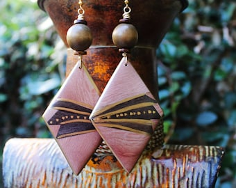 African Wood Earrings, Big Wood Earrings, Afrocentric Earrings, Diamond Shaped, Statement Earrings, Ebony Soul African Wood Earrings