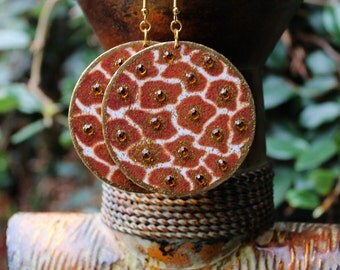 African Earrings, Tribal Earrings, Animal Print Earrings, Giraffe Print Earrings, Wood Earrings, Giraffe Print Bejeweled Wood Earrings