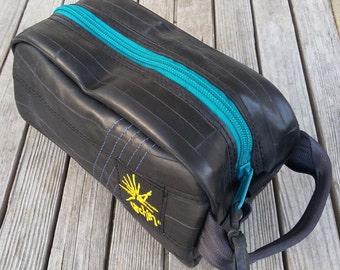 Recycled Dopp Kit - Mens Toiletry Bag - Bike Tube Shaving Kit