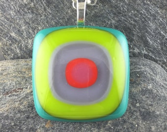 Colorful Bullseye Pendant Design / Modern Funky Fused Glass Pendant / Glass Jewelry / Handmade in Texas