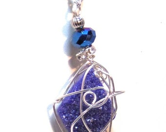 Druzy Crystal Gemstones Necklace - Blue Wire Wrapped