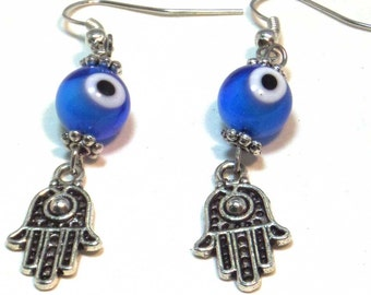 Hamsa Earrings, Evil Eye Earrings