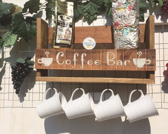 Personalized ?COFFEE BAR RACK, holds 4 coffee cups and a shelve for Accessories.  Pallet wood, reclaimed, repurposed wood. Wall decor..