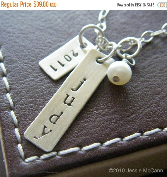 Valentines Day Sale Personalized Necklace - Custom Hand Stamped Sterling Silver Charm Jewelry - Class of 2015 Necklace