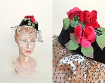 Vintage Hat Topper --- 1950s Black Veil