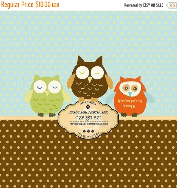 Digital Design Set Paper and  Owl Clip Art for invites, card making, digital scrapbooking - Owls