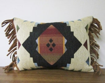 Small Southwest Tapestry Pillow Passion Suede Fabric and Fringe Trim Decorator Throw Pillow