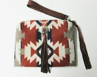 Wool Purse Wrist Bag Clutch Bag Cosmetic Make Up Removable Leather Strap Mountain Majesty Blanket Weight