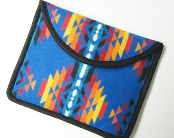 Wool iPad Cover Case iPad Sleeve Padded Sapphire Blue Wool Southwest Print from Pendleton Oregon