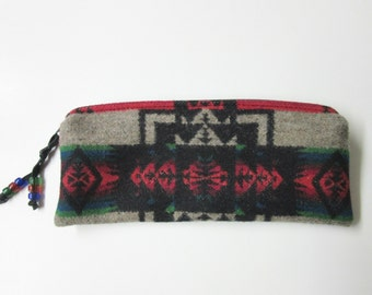 Wool Zippered Pouch Pencil Case Accessory Organizer Cosmetic Bag Native American Print