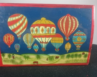 Vintage Hand Painted Hot Air Balloons Wooden Trinket or Jewelry Box Russian