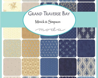 "SQ27 Moda Grand Traverse Bay Precut 5"" Charm Pack Fabric Quilting Cotton Squares Minick & Simpson 14820PP"