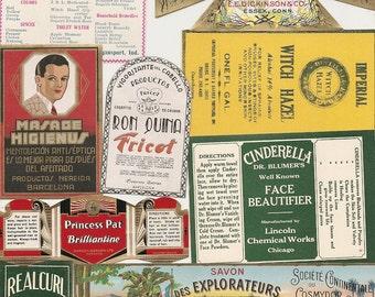 68 1930s plus Medicine cabinet Labels Drugstore,Pharmacy ,Poison ,BEAUTY,COSMETICS,French Perfume,Witch Hazel etc