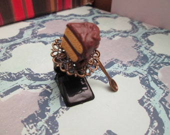 Chocolate Frosting Cake Slice Adjustable Antiqued Brass Ring with Spoon Charm