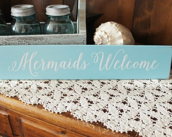 Mermaids Welcome Beach Wood Sign By the Sea Wall Decor Coastal Decor Cottage Style