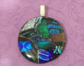 Fused Glass Pendant, Colorful Dichroic Omega Slide Pendant, Blue, Green, Fused Glass Jewelry, Ready to Ship - Magdalene --6