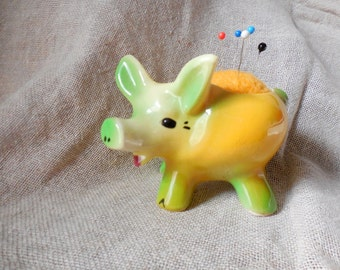 This little Vintage Piggy Planter remade into Pin Cushion