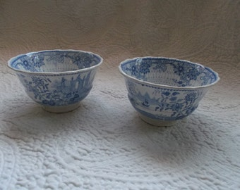 Two Late 18th to 19th C ADAMS Blue Handleless Transfer Ware Cups