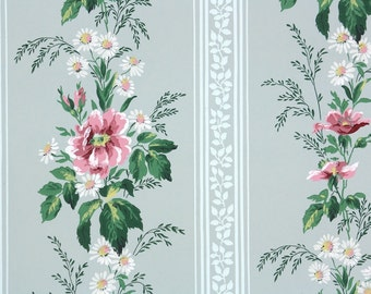 1940s Vintage Wallpaper by the Yard - Pink and White Flowers on Blue