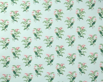 1950's Vintage Wallpaper - Floral Wallpaper with Lily of the Valley Flowers of Pink and Green on Blue