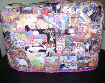 Sewing Machine Cover In Cats In Sewing Room Fabric   Standard Size