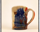 Mug with gold and red poppies and blue underglaze