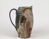 Wood Fired pitcher with red and gold poppies