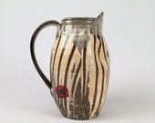 Soda Fired pitcher with red and platinum poppies