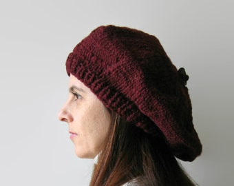 Burgundy Beret, Chunky Knit Beret, Slouchy Hat, Womens Hats, Knit Hat, Chunky Knit Hat, Tam O Shanter, Winter Hats, Wool Beret, French Beret