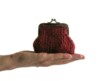 Maroon Wool Cute Coin Purse, Kiss Lock Chunky Hand Knit Clasp Change Purse Money Holder, Knitted Pouch Ready to Ship, Gifts For Her Under 25