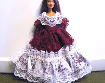 Barbie Dress Burgundy and White Lace