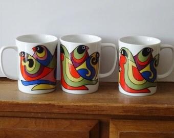 Vintage Fitz and Floyd Bird Mugs Colorful FF Porcelain Mug