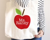 Teacher Tote Bag - Teacher Book Bag - Personalized - Teacher Gift - Apple Tote Bag