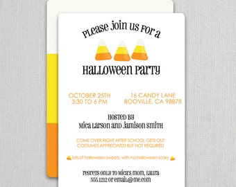 Candy Corn Halloween Invitations | Swanky Press - Halloween party