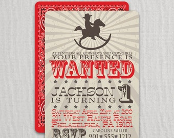 Cowboy Birthday Invitation | Cowboy Party Invite | Rocking Horse Cowboy Invitation | Cowboy Party | Cowboy Invite