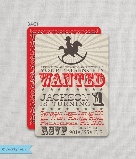 Cowboy Birthday Invitation | Cowboy Party Invite | Rocking Horse Cowboy Invitation | Cowboy Party | Cowboy Invite