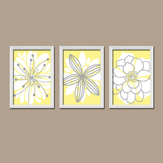 Yellow And Gray Bedroom Wall Decor : Yellow gray bedroom wall art canvas or prints by trmdesign