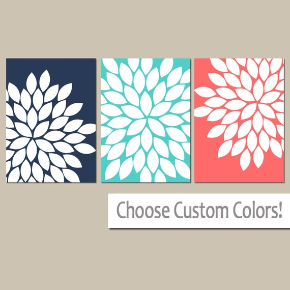 Coral Turquoise Navy Wall Art Canvas Or Prints Flower By – Jerusalem ...