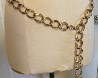 Vintage 60's Gold Textured Metal Chain Links Belt, Double Links, Mid Century Mod