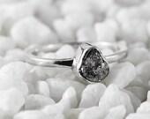 Grey Diamond Ring Raw Diamonds Sterling Silver Anniversary Rings