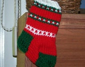 Mini stocking ornament hand knit Christmas