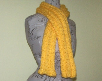 Yellow hand knit scarf