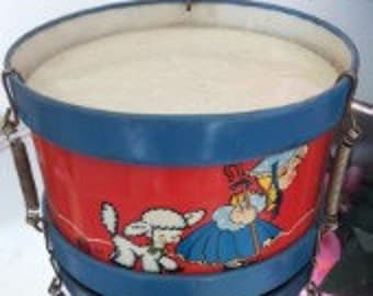 Vintage Tin Toy Drum with fantastic litho