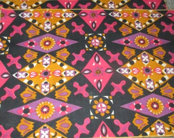 Vintage MOD Mid Century Black Gold and Pink Floral and Diamond Motif Cotton Placemats