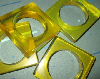 Vintage MOD 60s Yellow Clear Lucite Square Napkin Rings Ring Set of Four