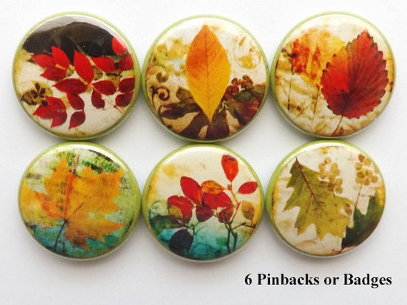 Autumn decor Leaves Buttons PINS pinback badge fall nature party favor stocking stuffer shower hostess gift home magnet thanksgiving holiday