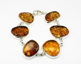 Great Deal !!! Huge Freeform natural Baltic Amber bracelet,handmade