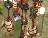 April Birthstone Crystal Quartz Windchime with Recycled Aluminum and Copper Wrapped Iridescent Teal & Celestial Blue Glass Marbles