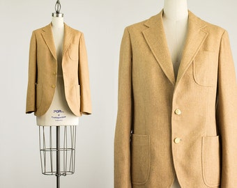 80s Vintage Camel Tan Wool Blazer Coat  / Size Medium