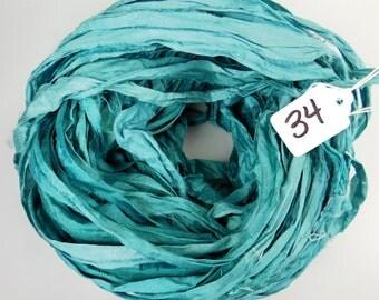 Sari Silk Ribbon, Silk Sari Ribbon, teal sari ribbon, Silk sari ribbon, teal ribbon, ribbon yarn
